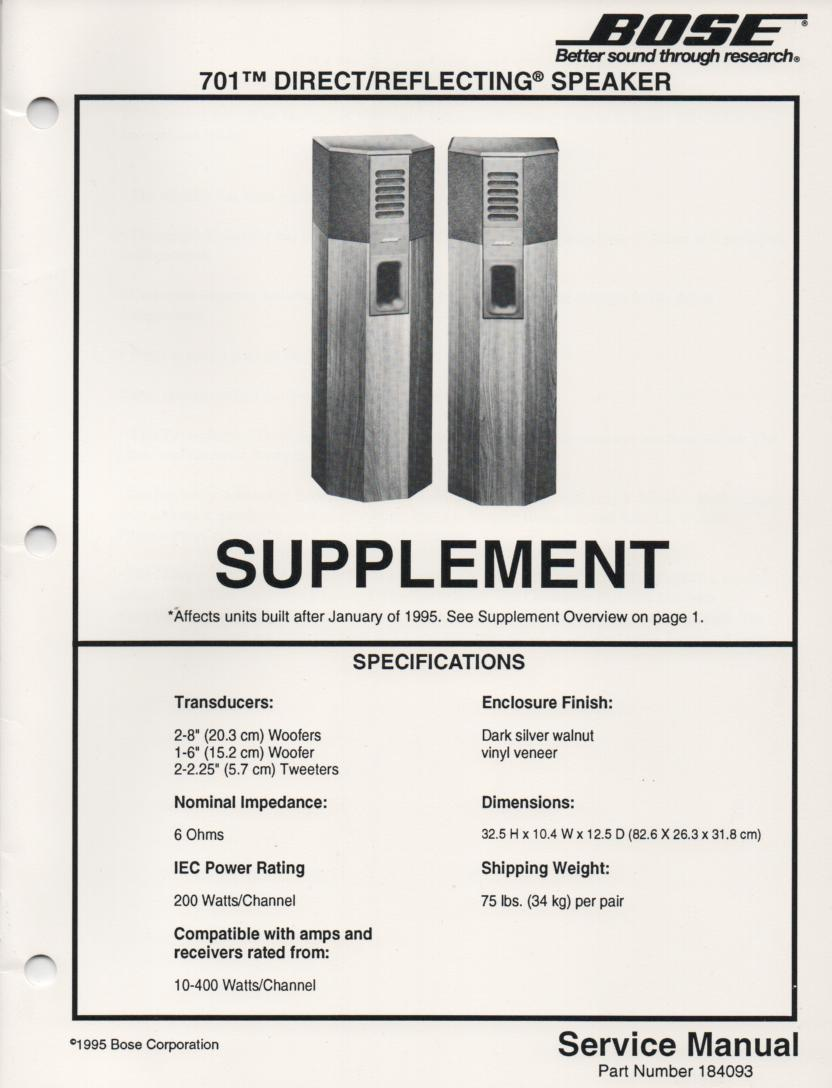 701 Direct Reflecting Speaker System Service Manual 2 for units made after Jan 1995