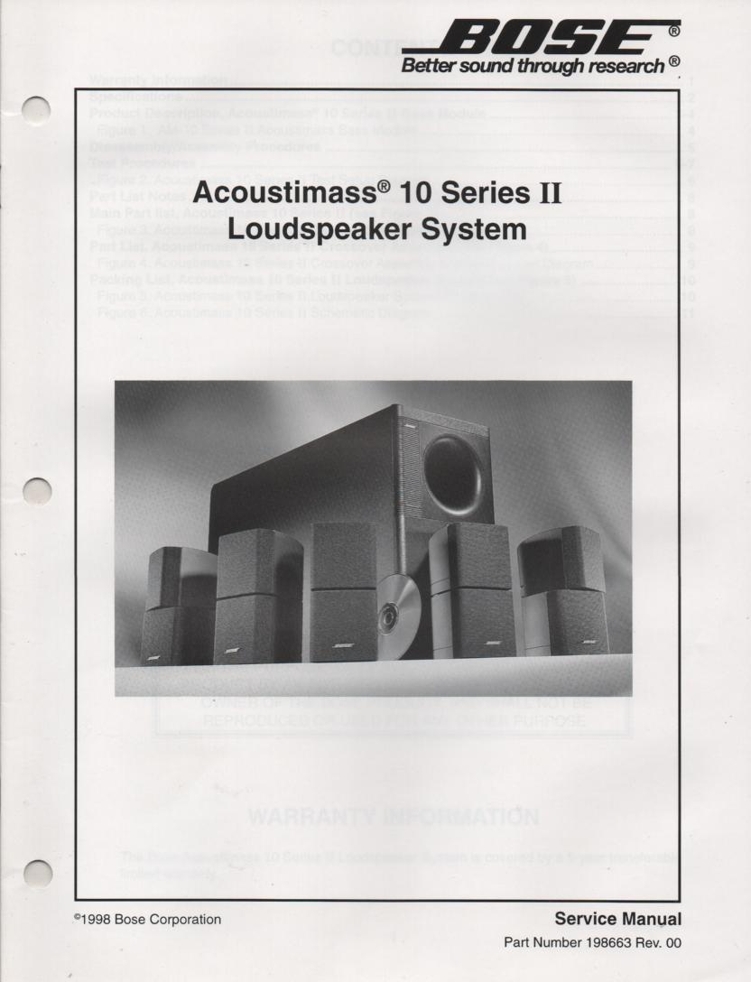 AM-10 Series 2 II Acoustimass-10 Series 2 II Home Theater Speaker System Service Manual .  