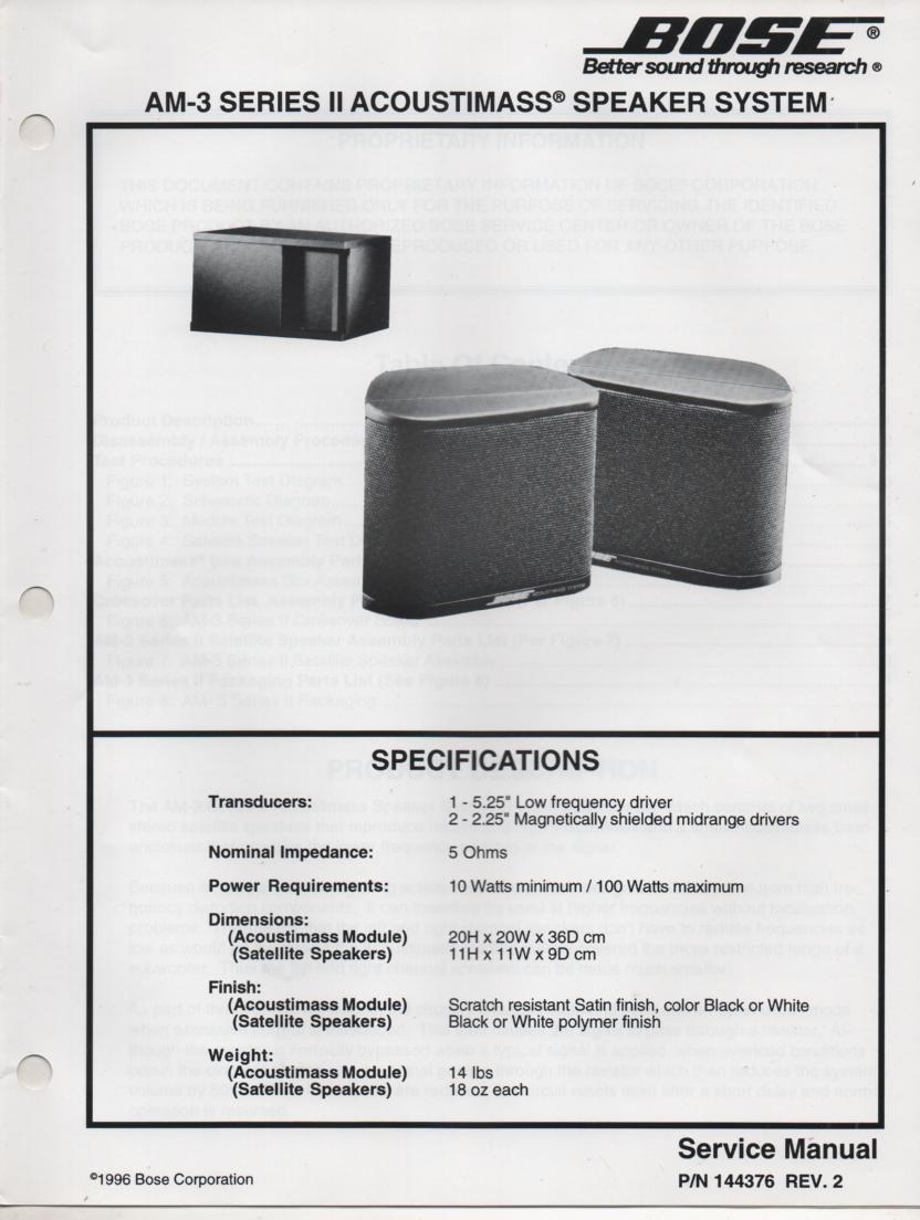 AM-3 Series 2 II Acoustimass Speaker Service Manual 2.   144326 REV 2 1996