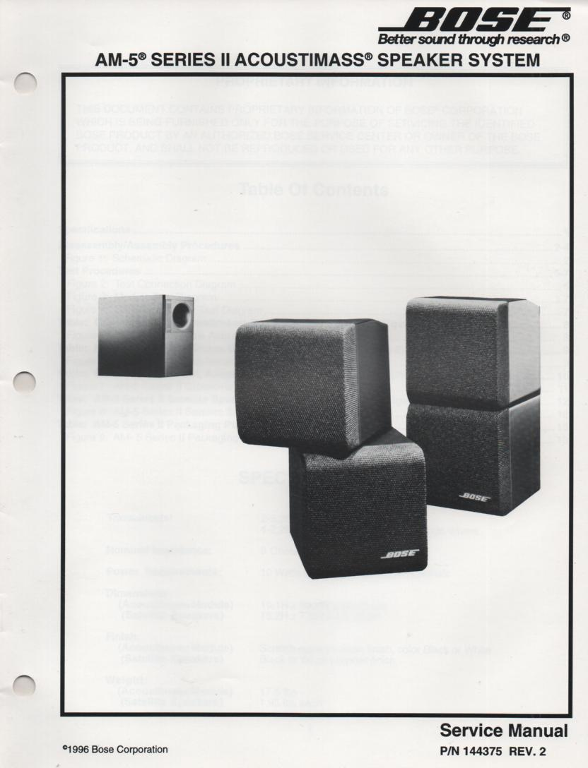 Bose Am Series Ii Acoustimass Am Ii Speaker System Service Manual on Zenith Tv Manuals