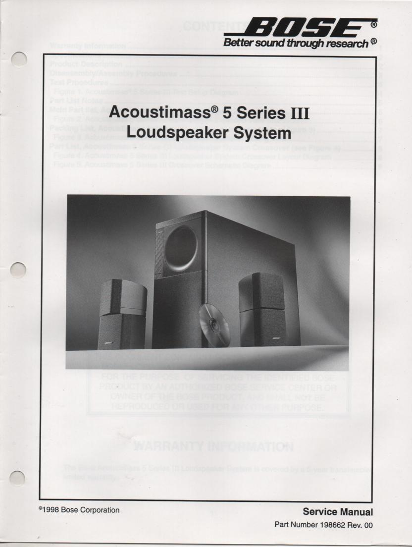 AM-5 Series 3 III Acoustimass-5 Series 3 III Speaker System Service Manual.    198662 1998