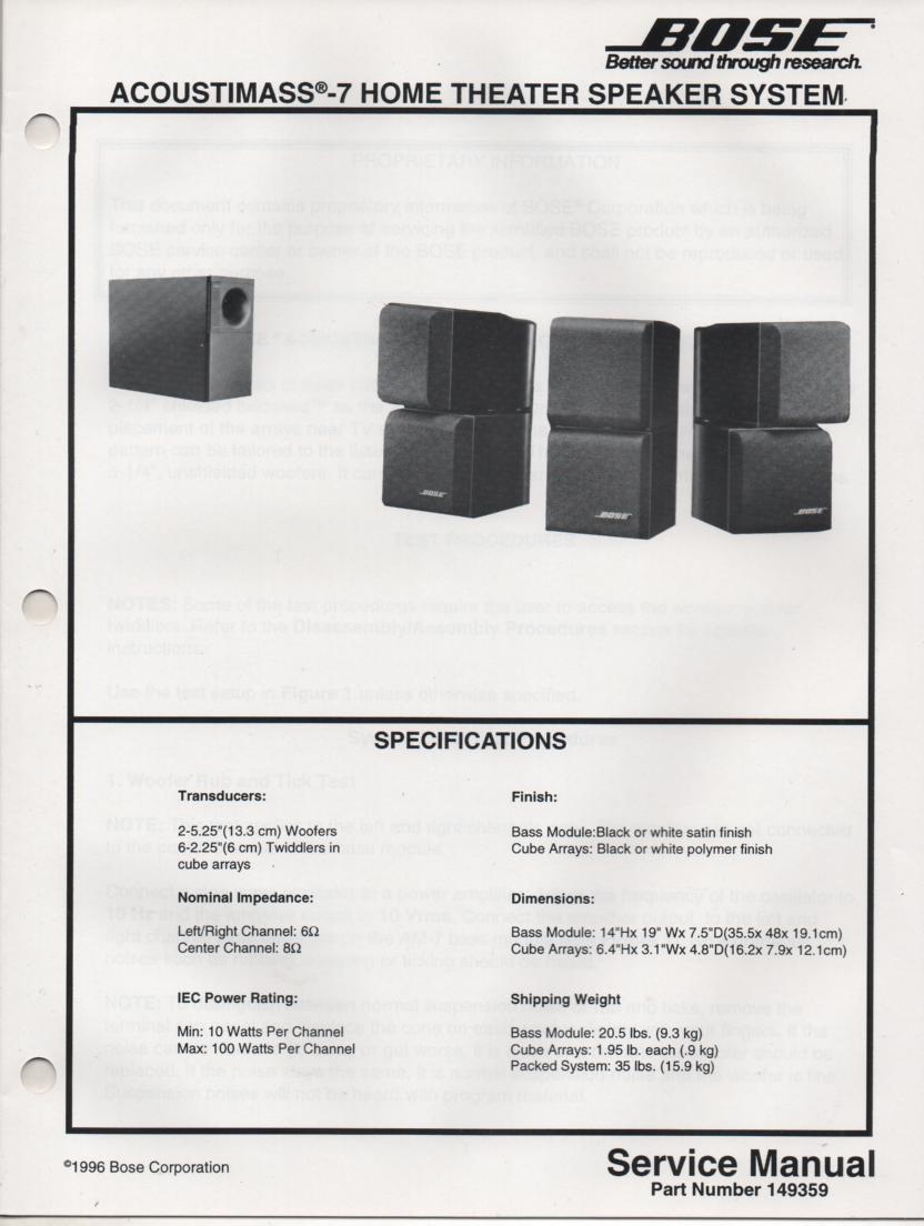 Cool Bose Acoustimass 7 Wiring Diagram Photos - Electrical Circuit ...