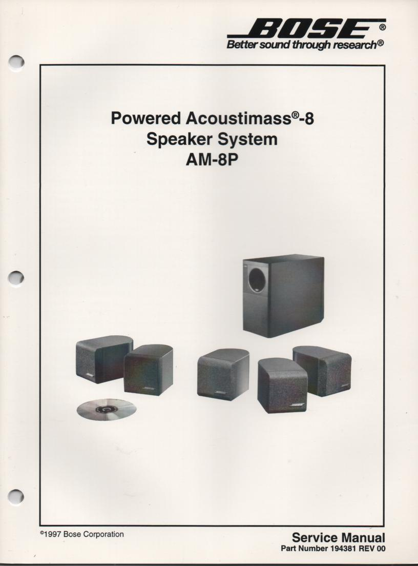 AM-9P Acoustimass-9P Powered Speaker System Service Manual. 4 manual set