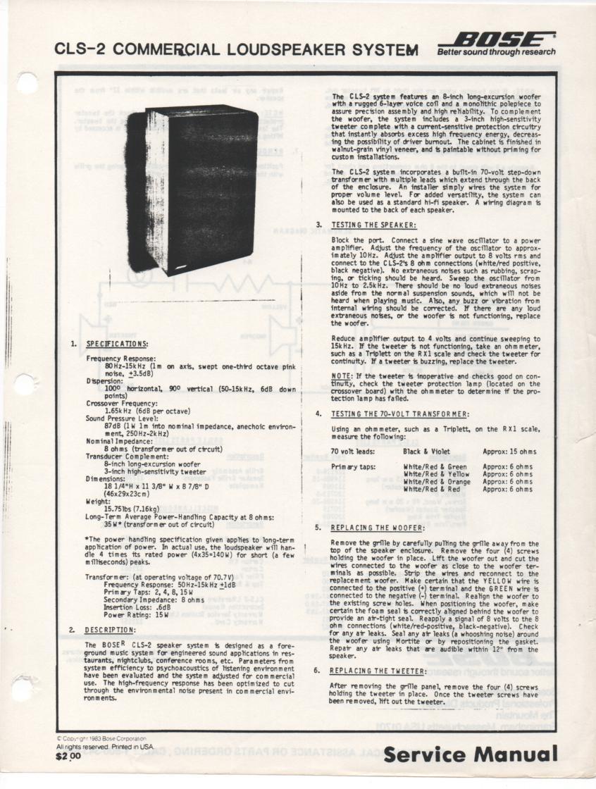 CLS-2 Commercial Speaker System Service Manual