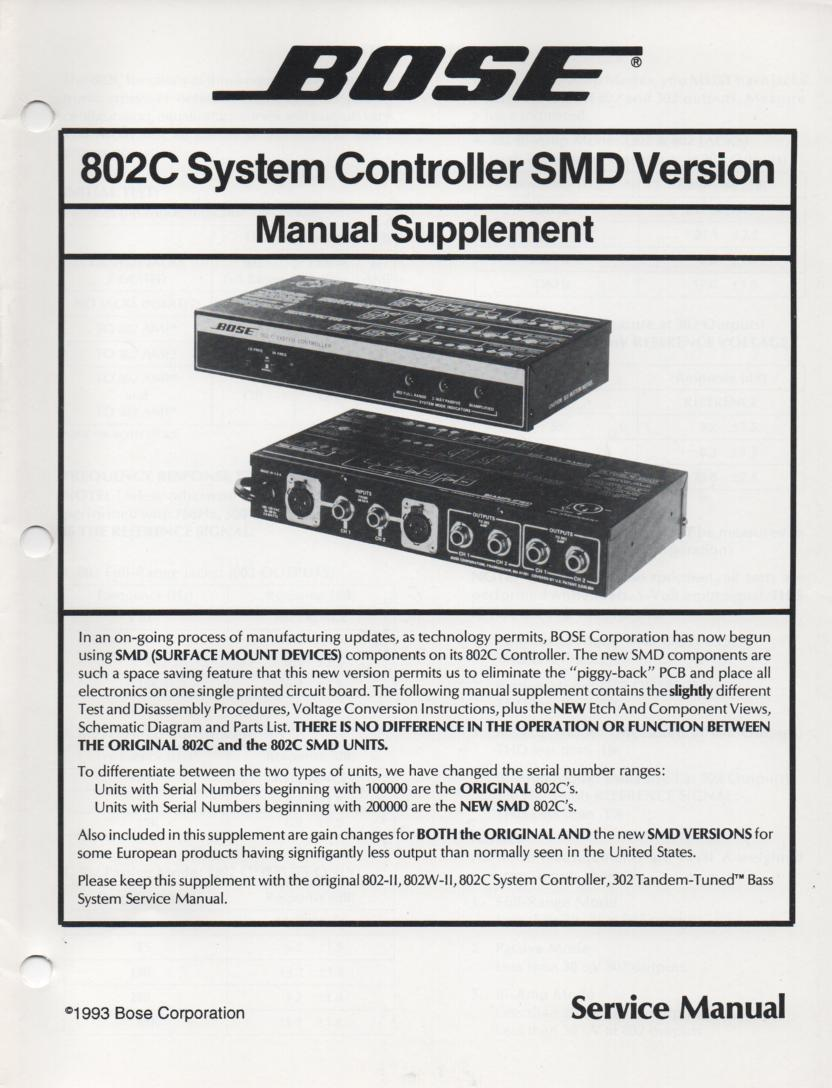 802C System Controller SMD Version Service Manual