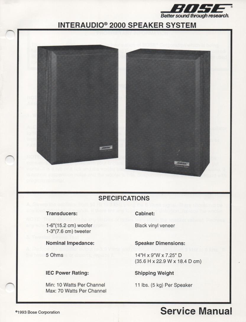 Interaudio 2000 Speaker System Service Manual