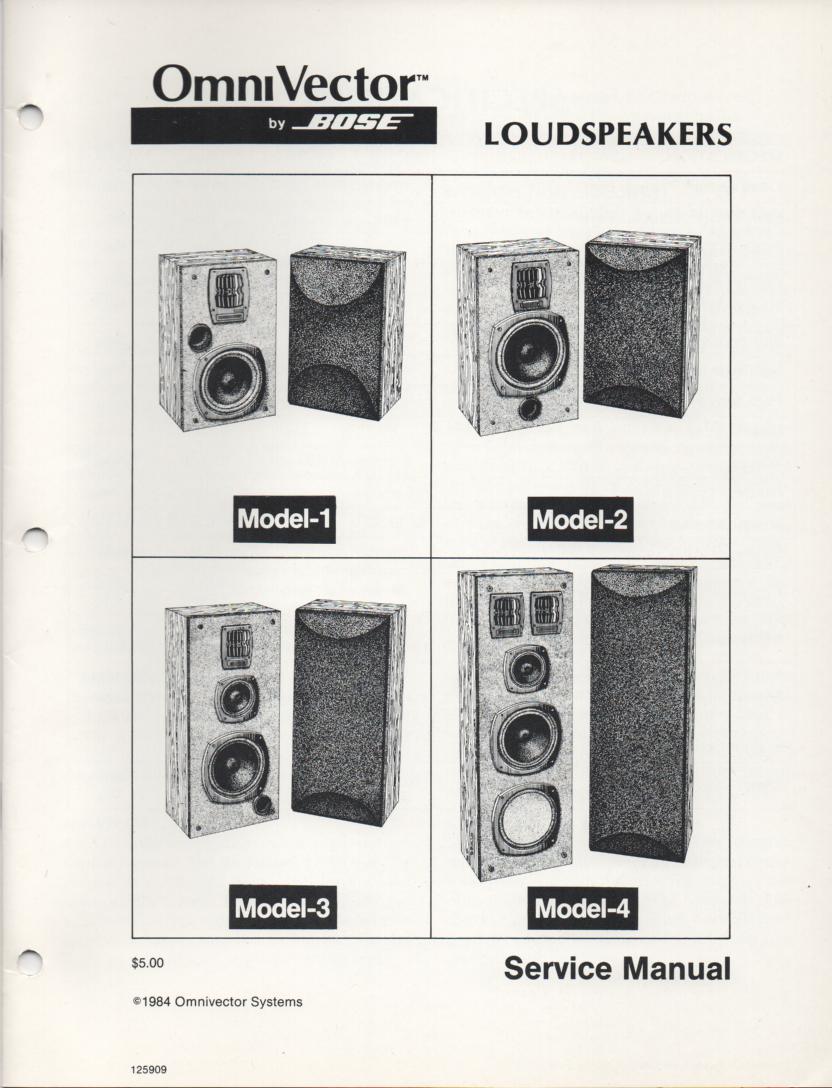 OmniVector Omni VectorModel 1 2 3 4 Speaker System Service Manual