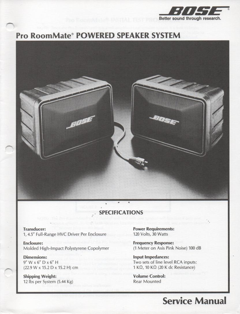 Pro RoomMate Powered Speaker System Service Manual.  contains schematic for the power unit..