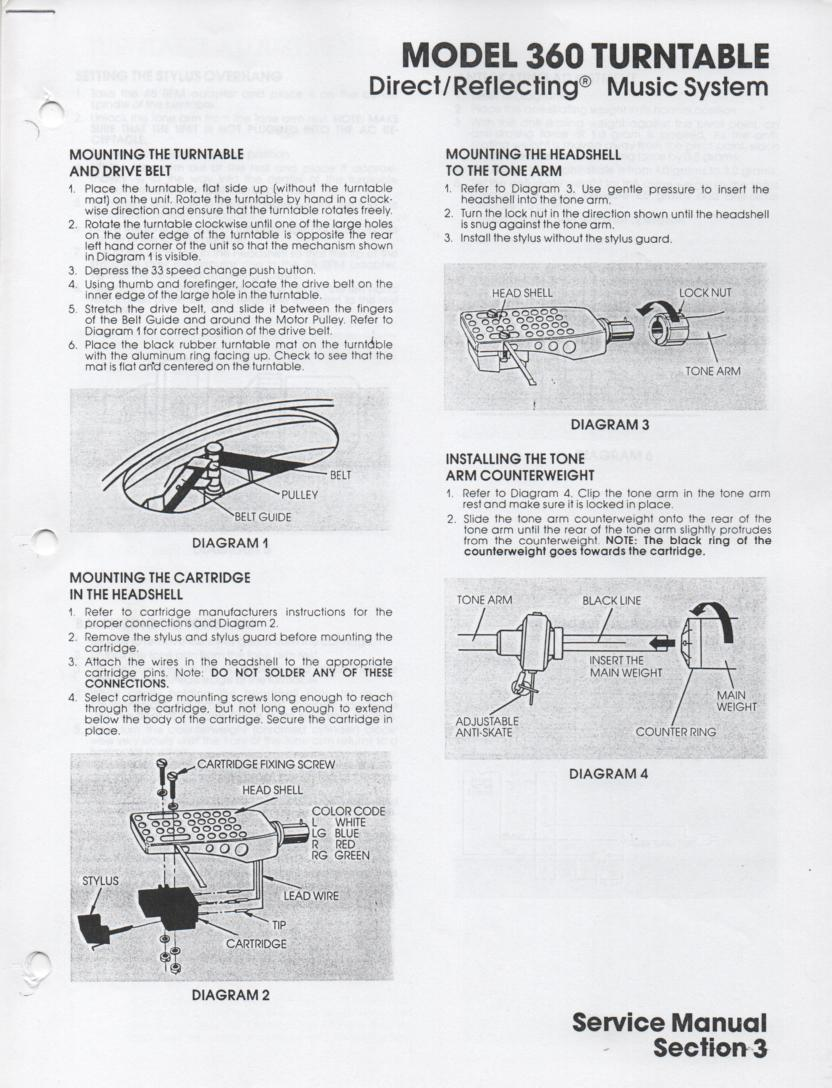 360 Turntable Service Manual