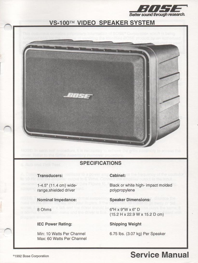 VS-100 Video Speaker System Service Manual