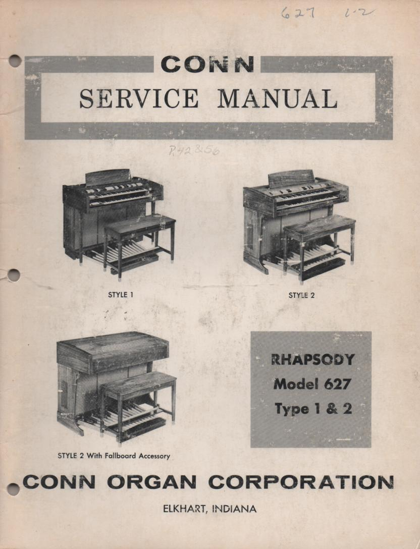627 Rhapsody Type 1 & 2 Style 1 & 2 Organ Service Manual