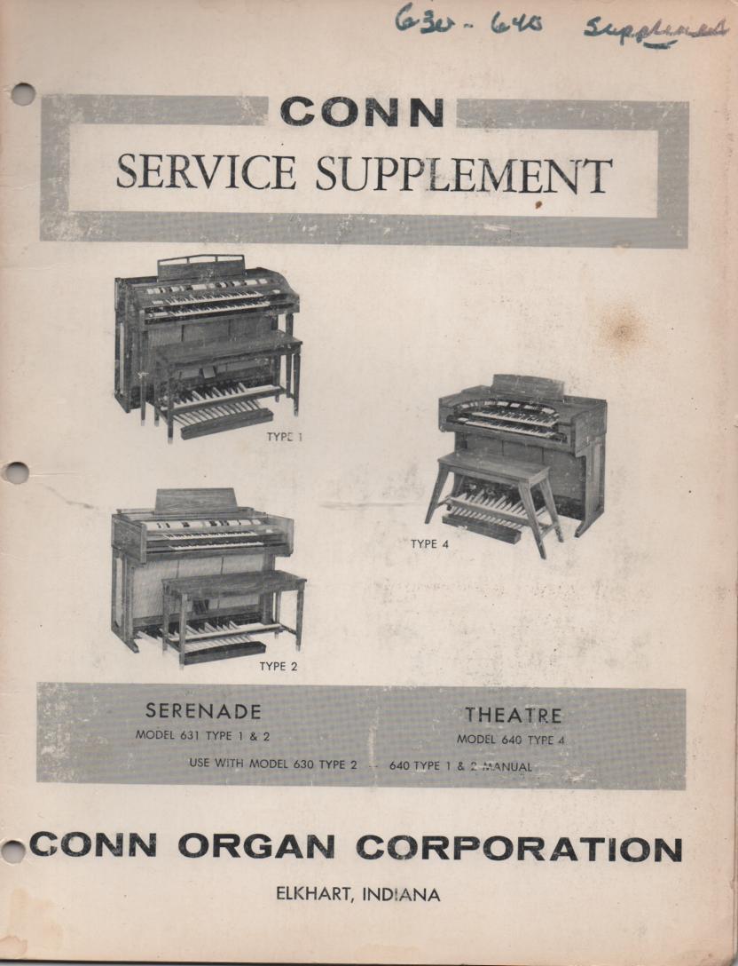 631 Type 1 & 2 640 Type 4 Serenade Organ Service Manual