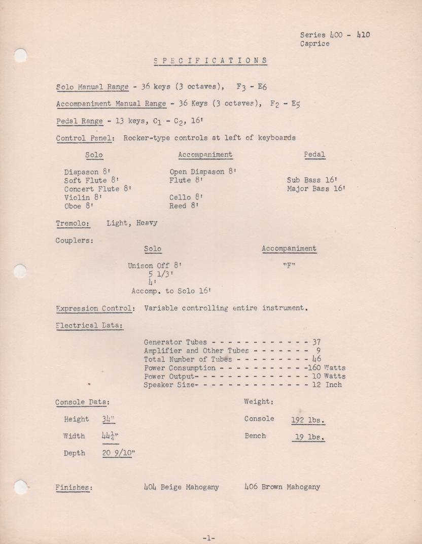 409 Organ Service Manual