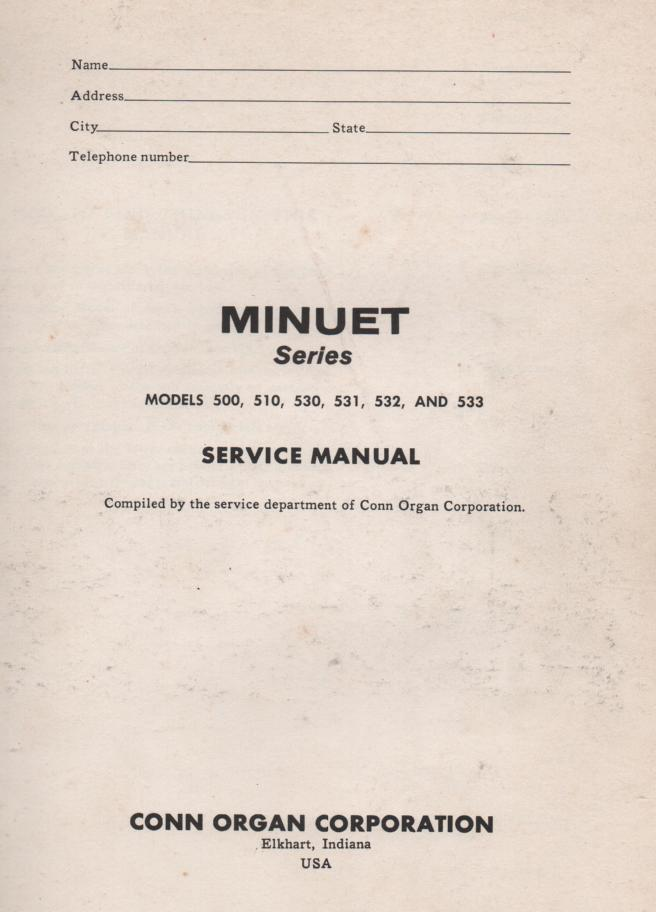 533 Minuet Organ Service Manual