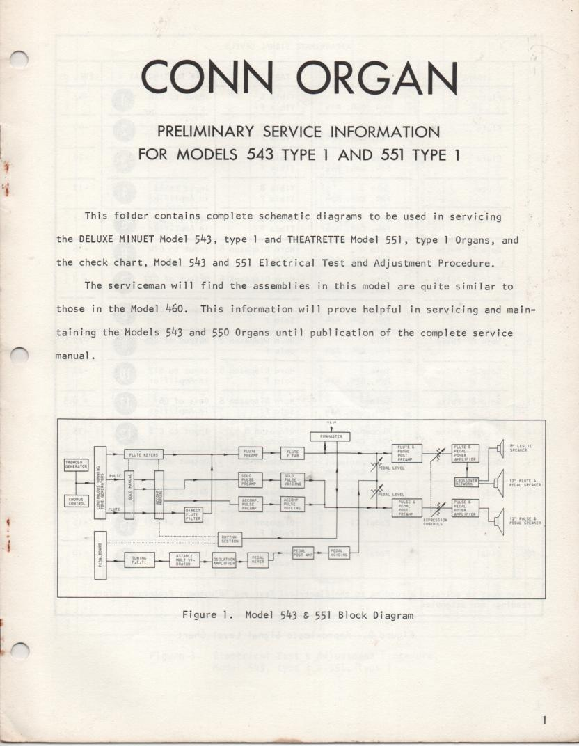 543 551 Organ Type 1 Service Manual.  Use 460 Manual for complete manual