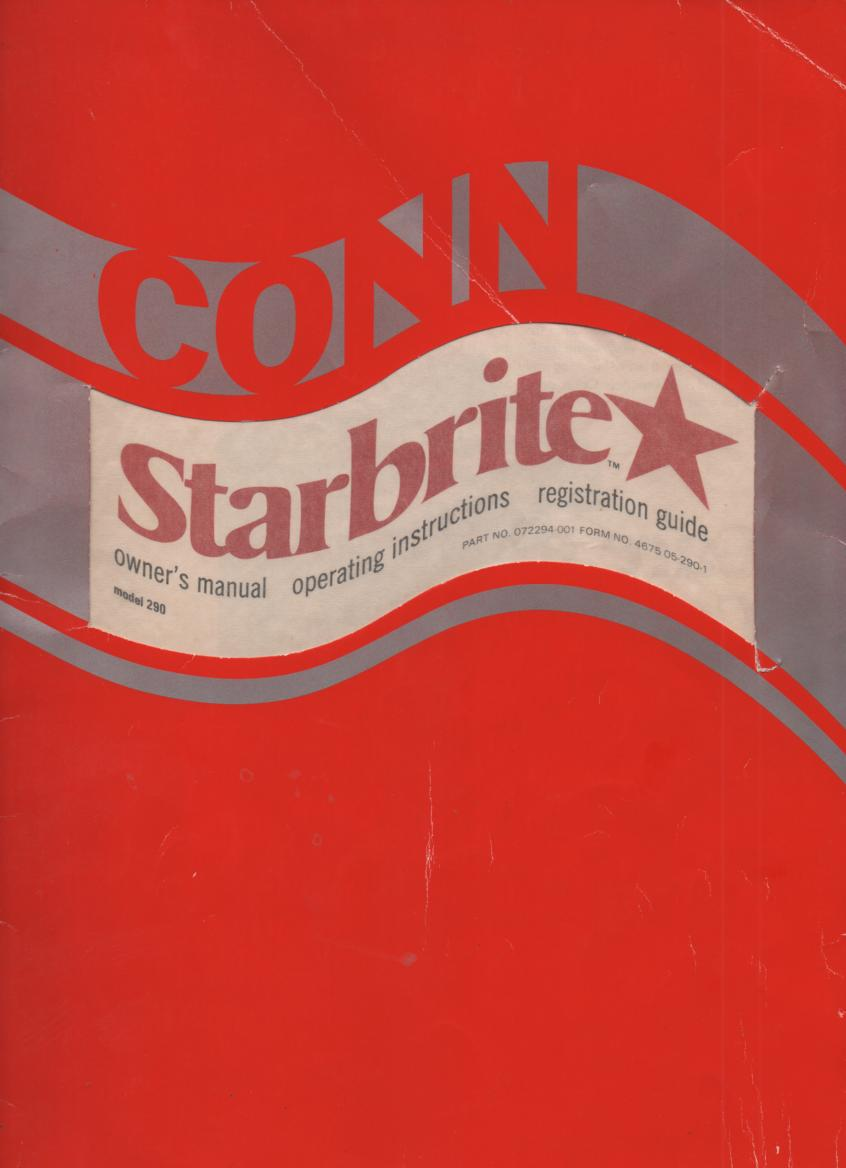 290 Starbrite Organ Owners Instruction Manual