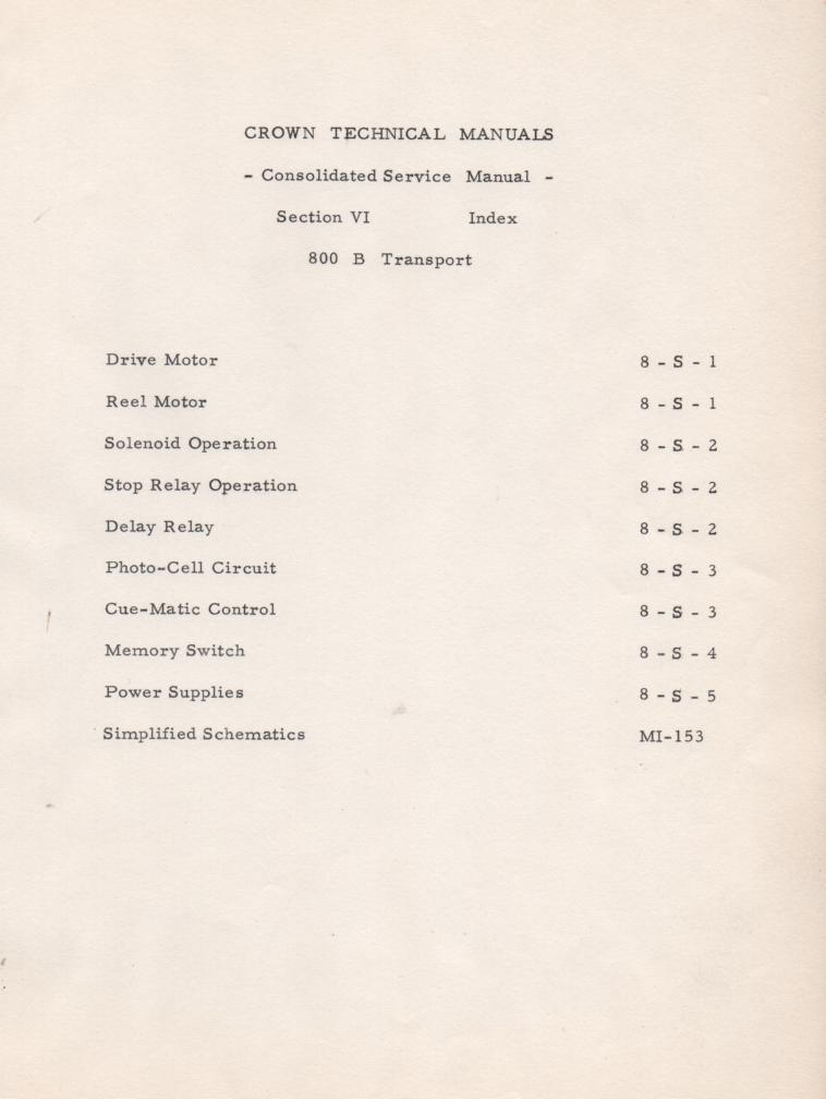 800B Transport Operation Manual