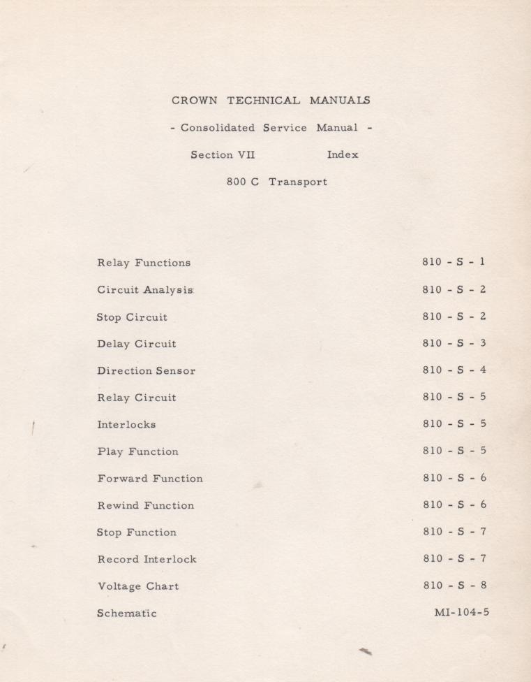 800C Transport Operation Manual
