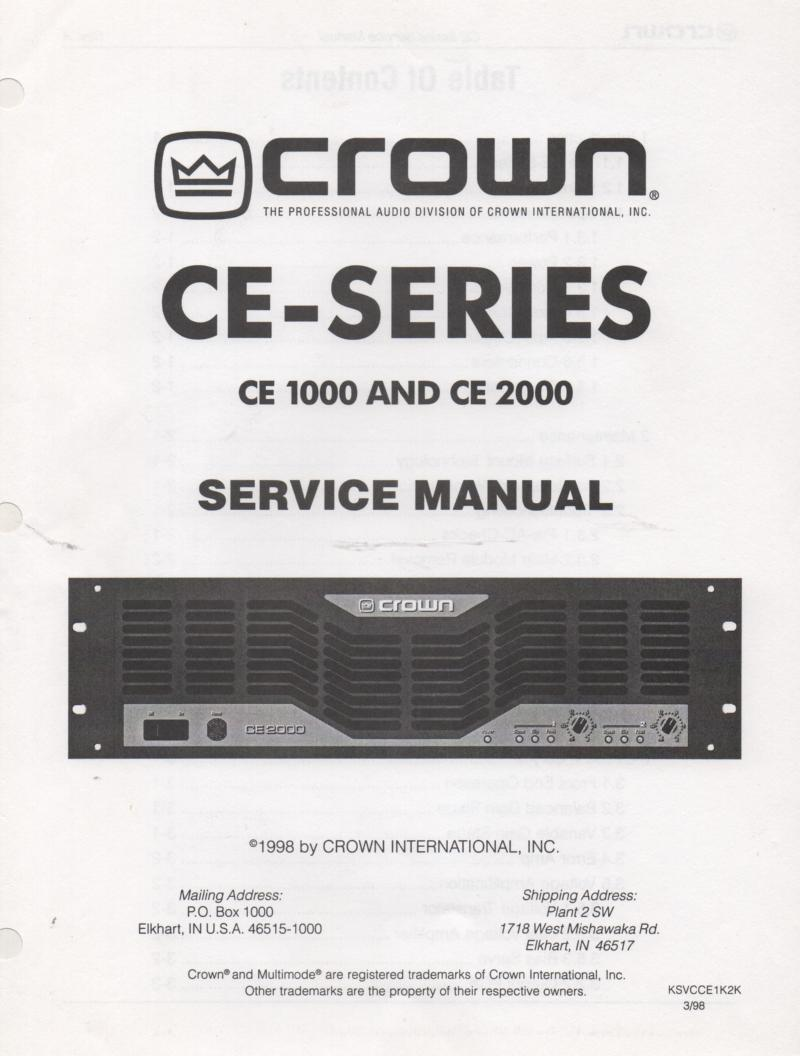 crown ce 1000 ce 2000 power amplifier service manual. Black Bedroom Furniture Sets. Home Design Ideas