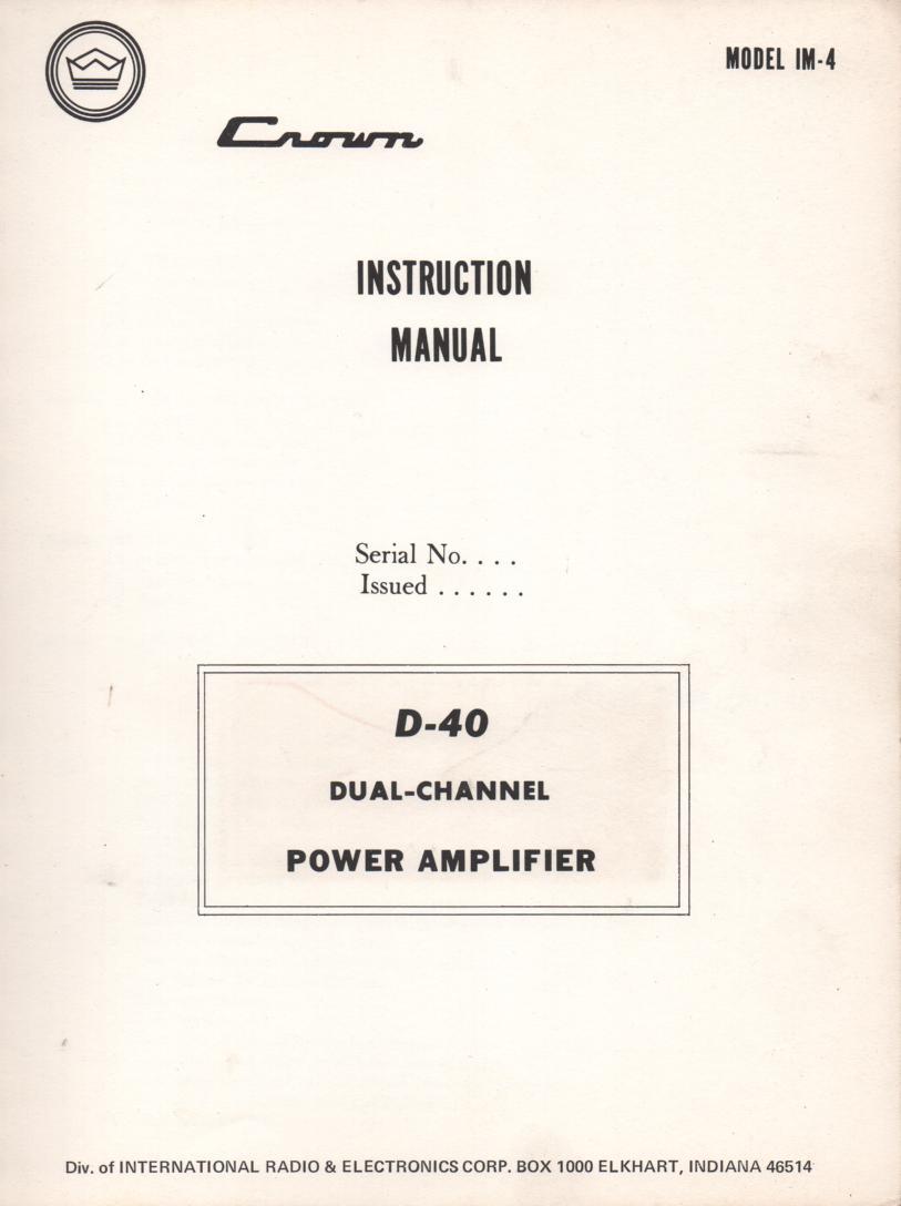 D-40 Power Amplifier Service Instruction Manual