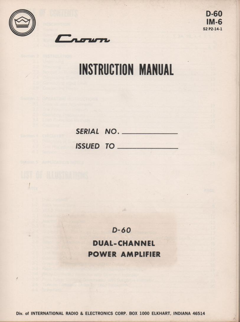 D-60 Power Amplifier Owners Operating Instruction Manual