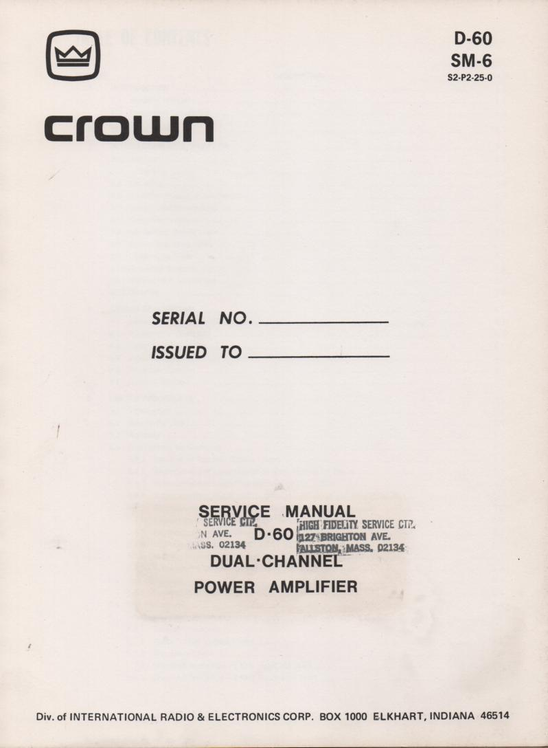 D-60 Power Amplifier Service Manual..  SM6