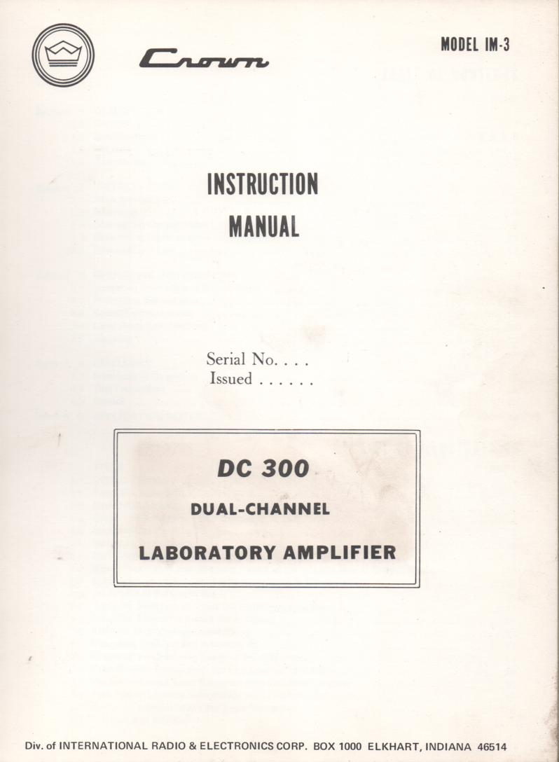 DC-300  Power Amplifier Owners Manual
