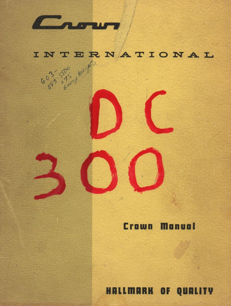 DC-300 DC-300A Power Amplifier Service Manual 1..  Complete Manual for the DC-300.. Additioanal pages added for DC-300A
