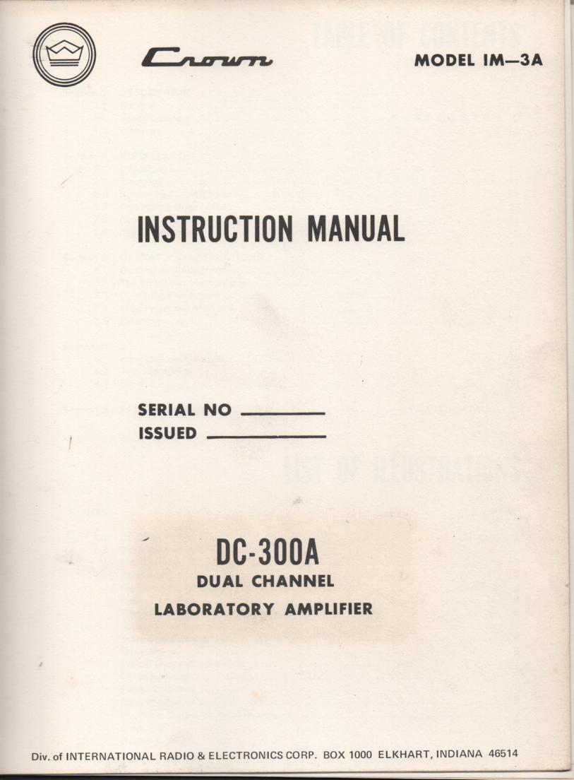 DC-300A  Power Amplifier Owners Manual  1.. IM3A