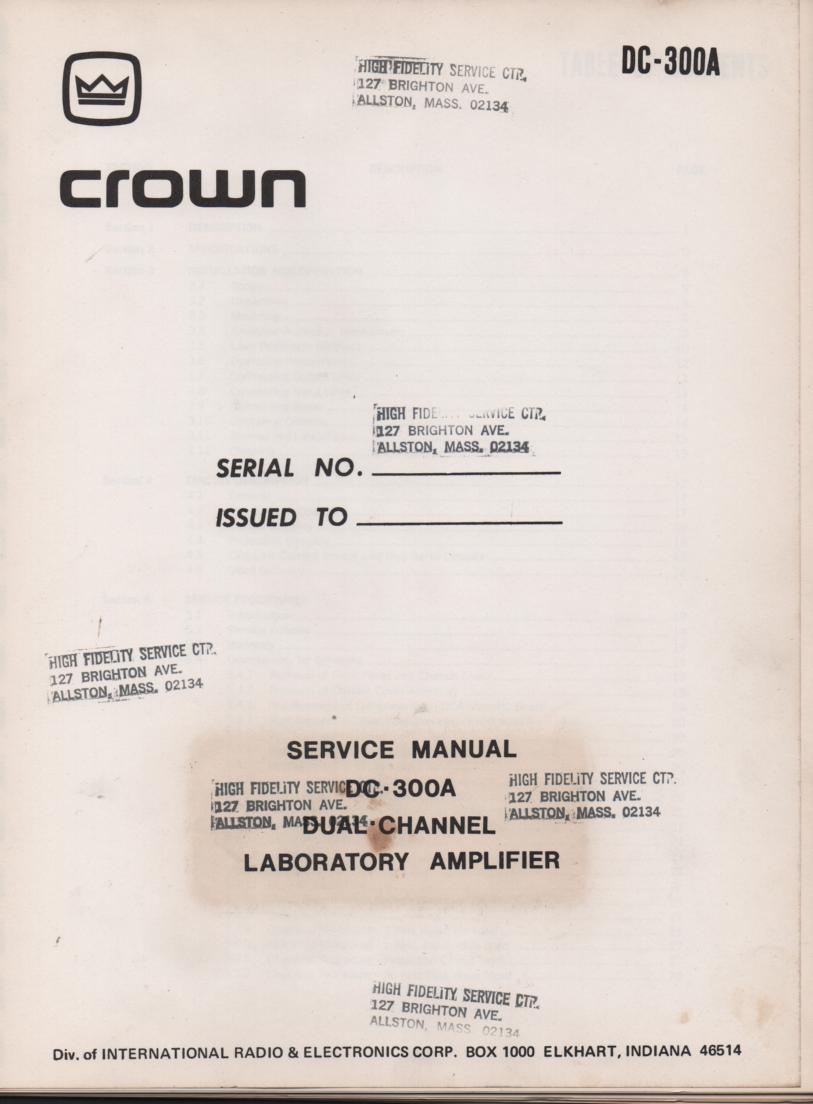 DC-300A Power Amplifier Service Manual 2