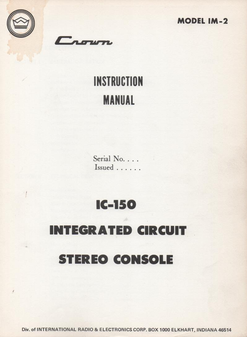 IC-150 Stereo Console Operating Instruction Manual..  IM-2.  Contains parts list and schematic