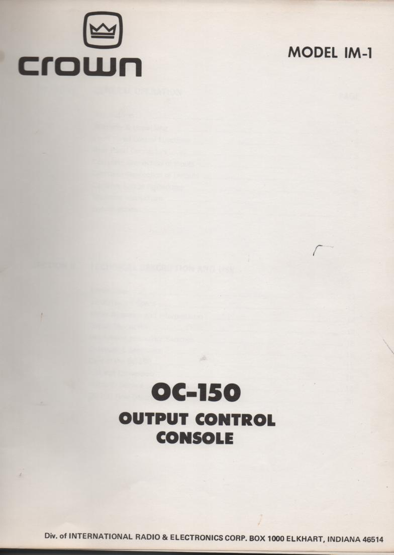 OC-150 Output Control Console Owners Service Manual
