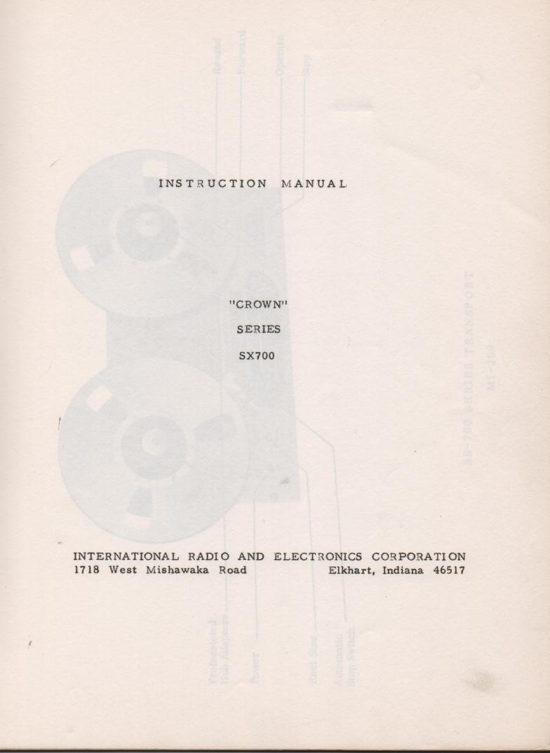 SX-700 Reel to Reel Owners Service Manual