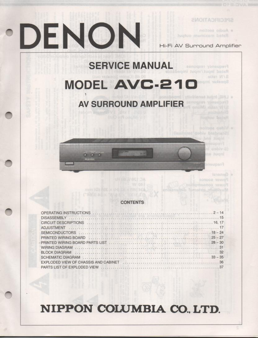 AVC-210 Surround Sound Amplifier Service Manual