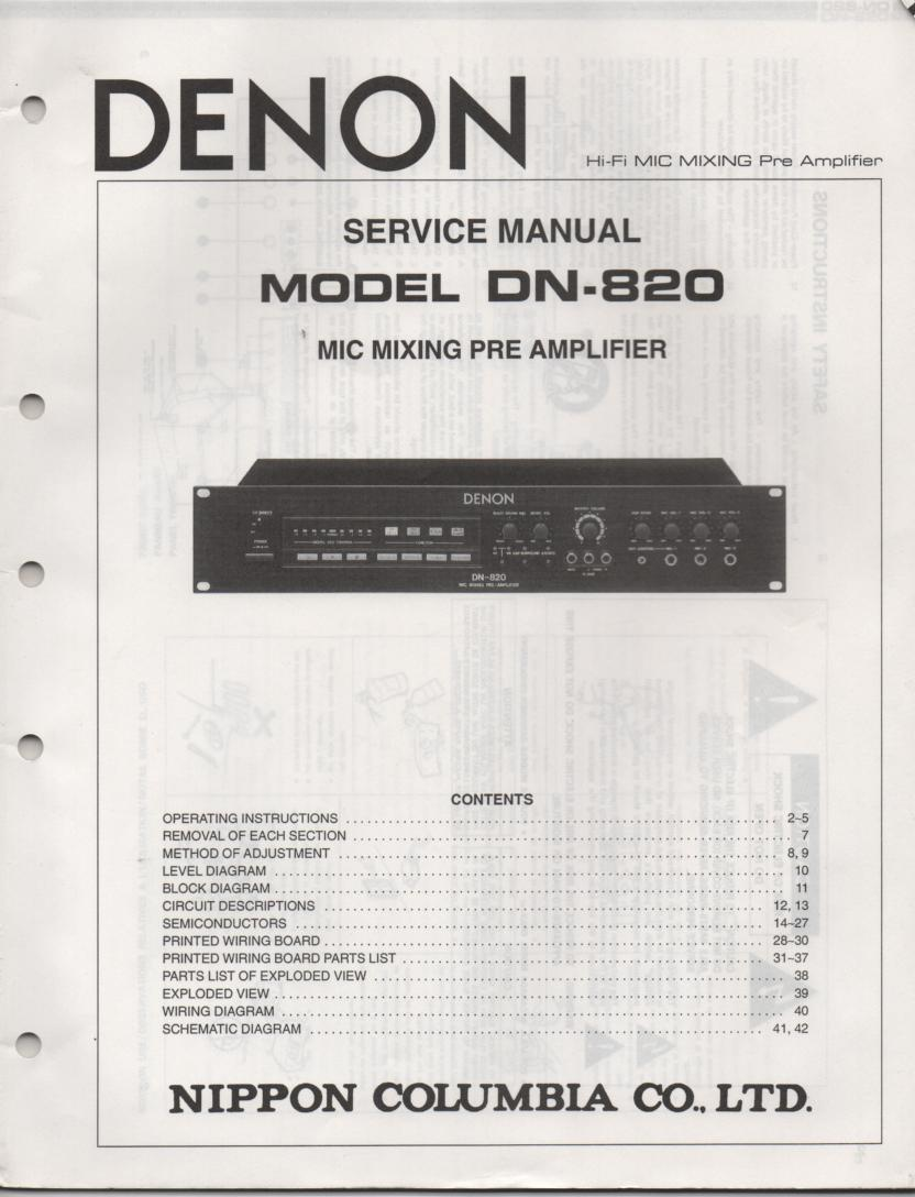 DN-820 Microphone Mixing Pre-Amplifier Service Manual
