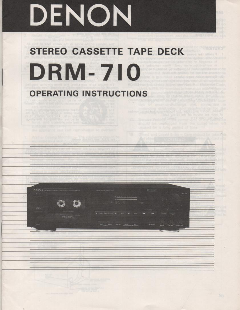 DRM-710 Cassette Deck Owners Manual