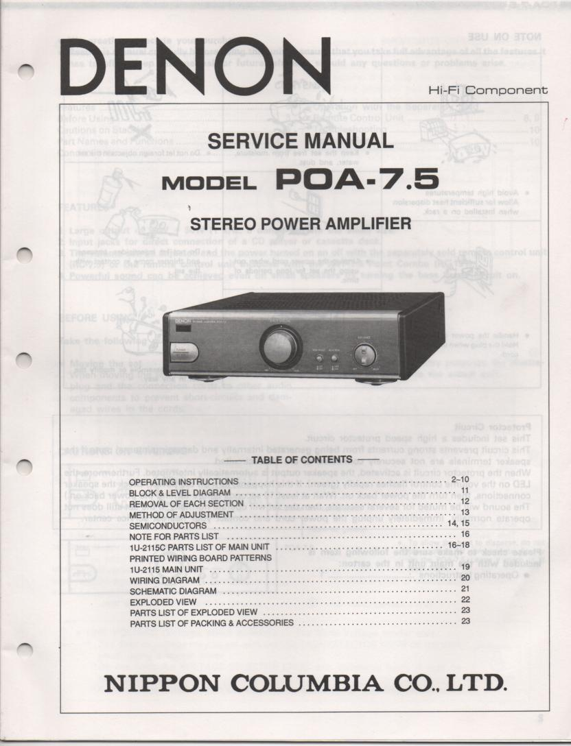 POA 7.5 Amplifier Service Manual
