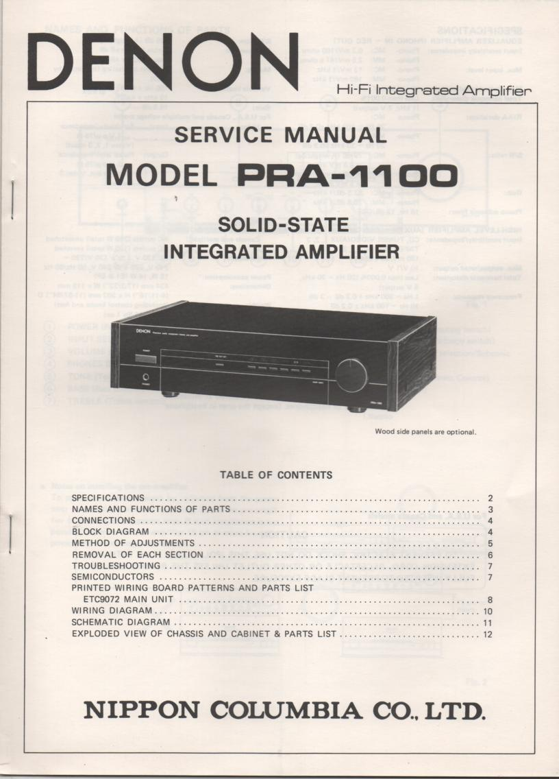 PRA-1100 Amplifier Service Manual