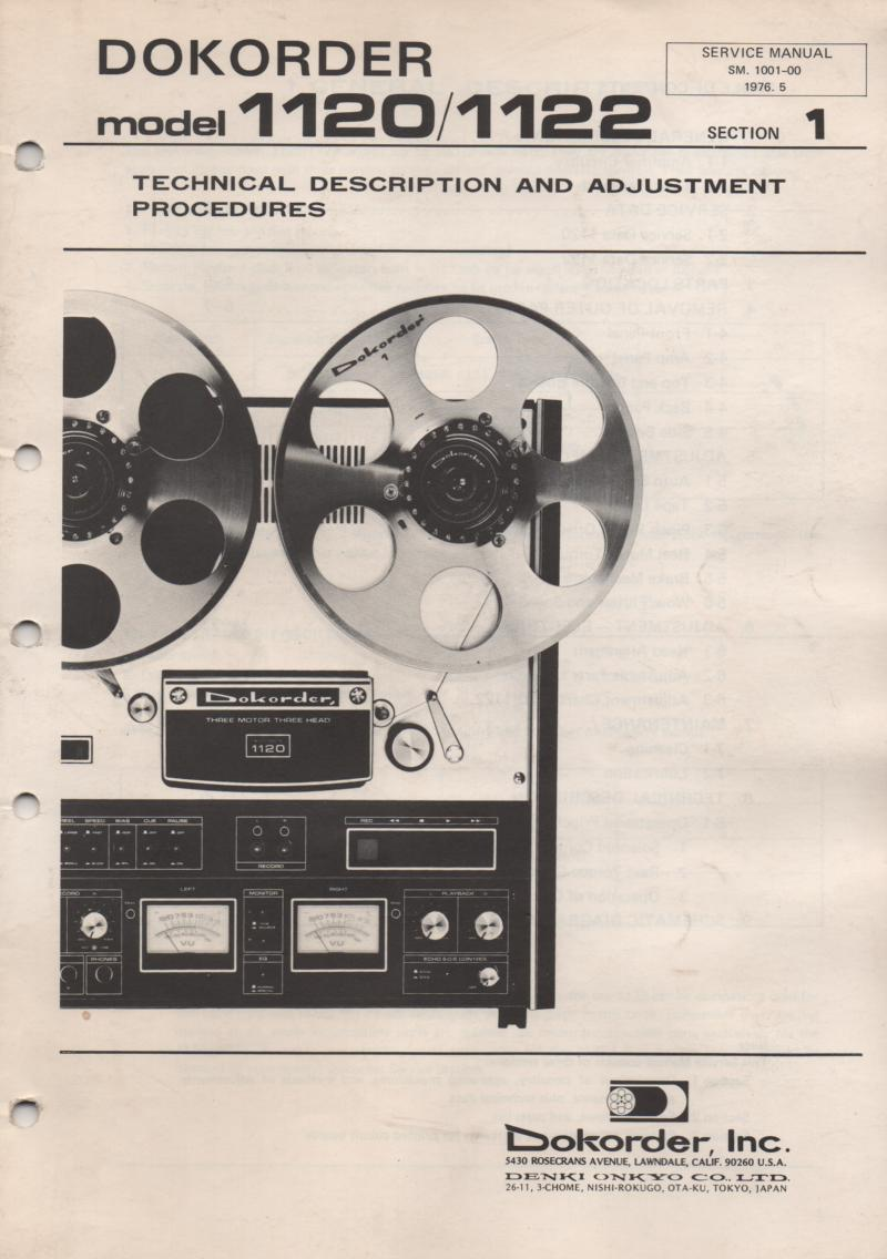 1120 1122 Reel to Reel Technical Adjustment Service Manual  Dokorder