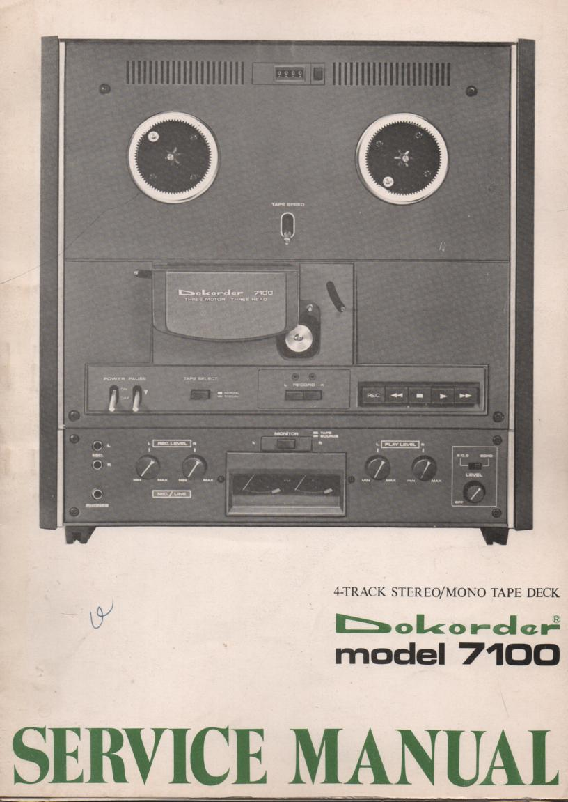 7100 Reel to Reel Service Manual  Dokorder