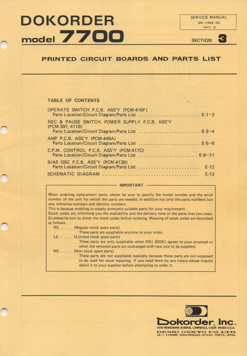 7700 Reel to Reel Schematic and Board Service Manual 3  Dokorder