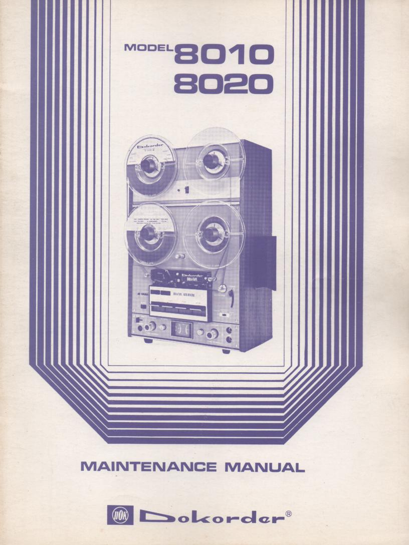8010 8020 Reel to Reel Service Manual  Dokorder
