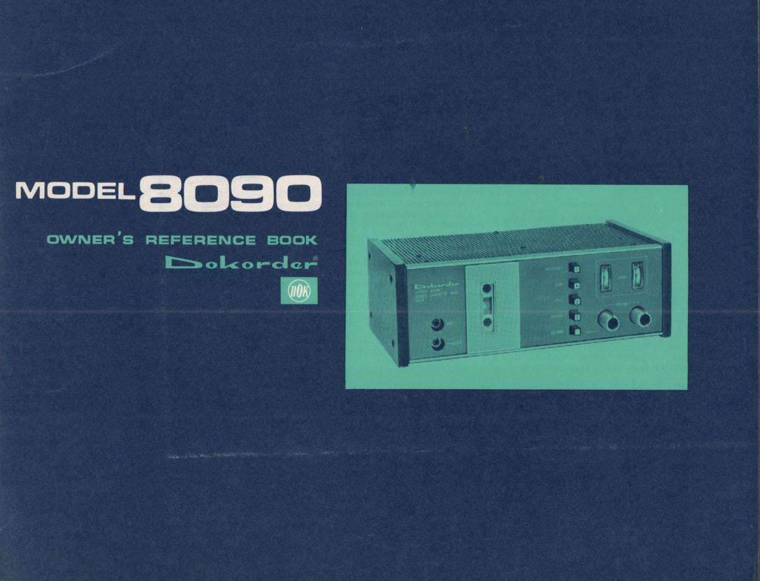 8090 Cassette Deck Owners Manual