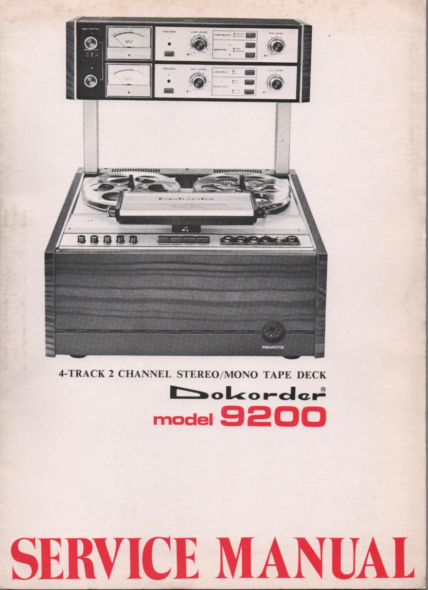 9200 Reel to Reel Service Manual  Dokorder
