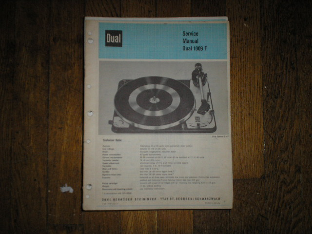 1009-F Turntable Service Manual  Dual