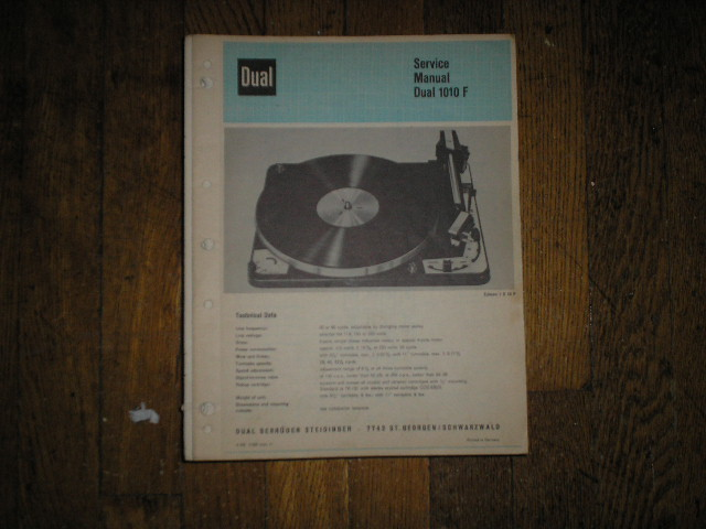 1010-F Turntable Service Manual  Dual