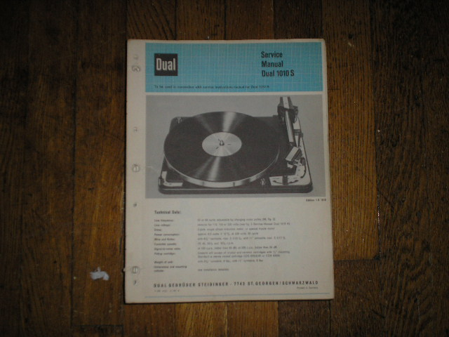 1010S 1010 S Turntable Service Manual