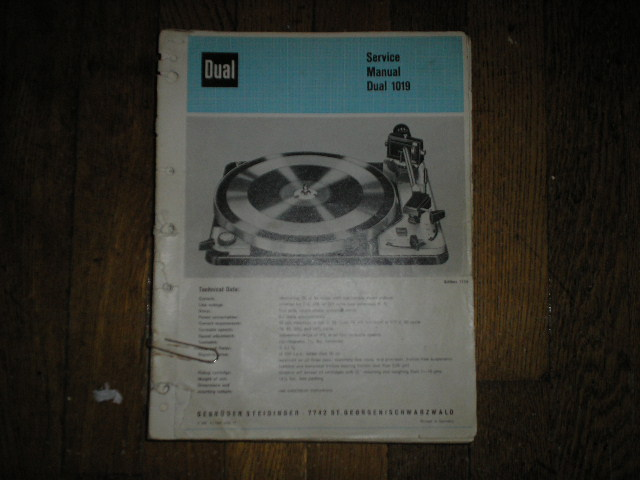 1019 Turntable Service Manual  Dual