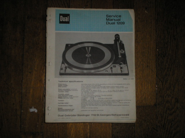 1209 Turntable Service Manual