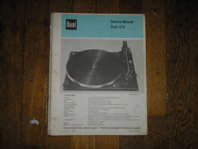 1212 Turntable Service Manual  Dual